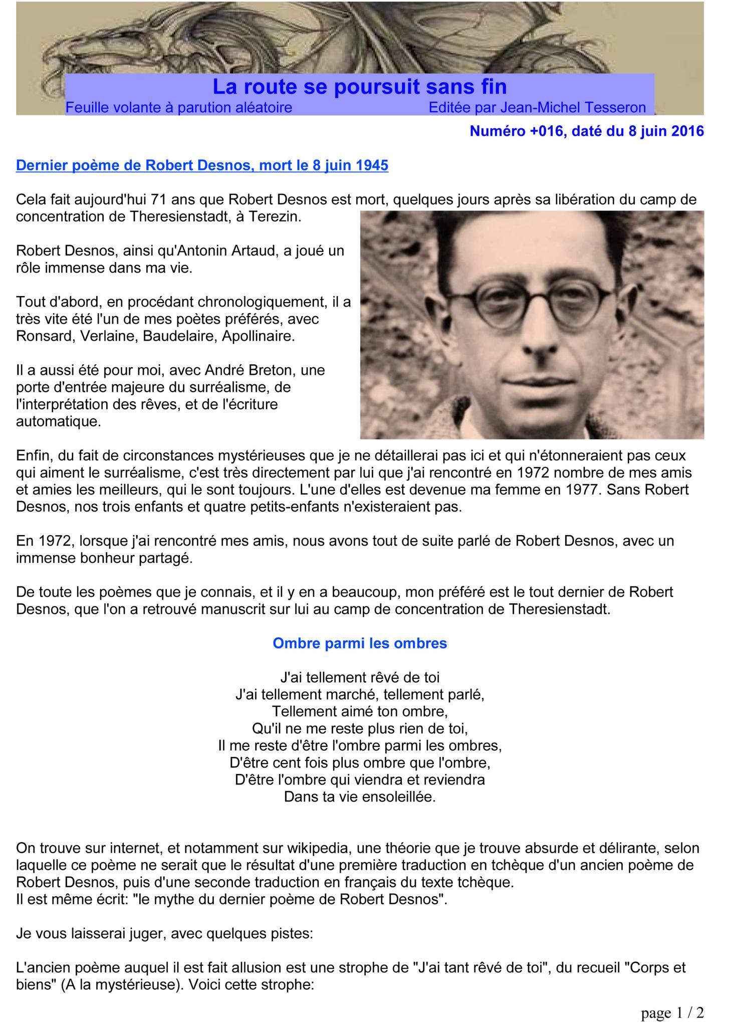 Dernier Poème De Robert Desnos, Mort Le 8 Juin 1945 - Jean dedans Poème De Robert Desnos