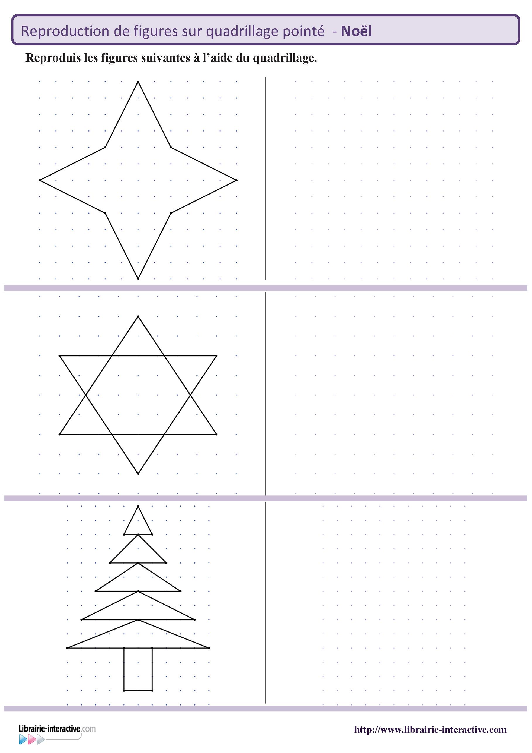 Des Figures Géométriques Sur Le Thème De Noël À Reproduire concernant Figures Géométriques Ce1