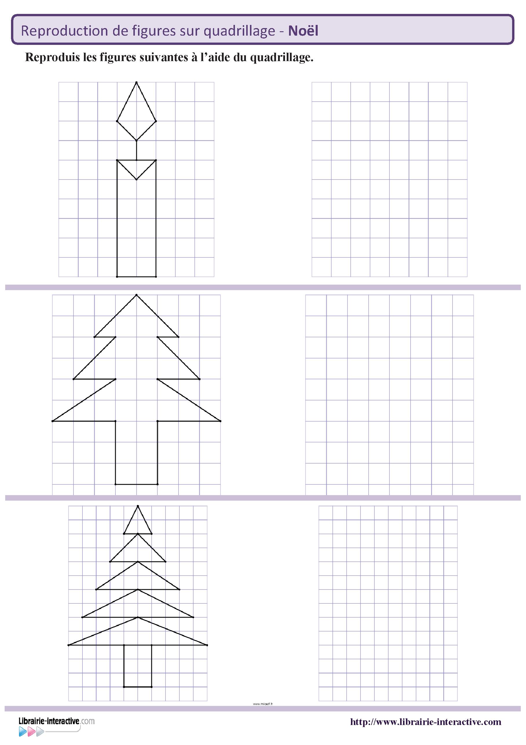 Des Figures Géométriques Sur Le Thème De Noël À Reproduire intérieur Figures Géométriques Ce1