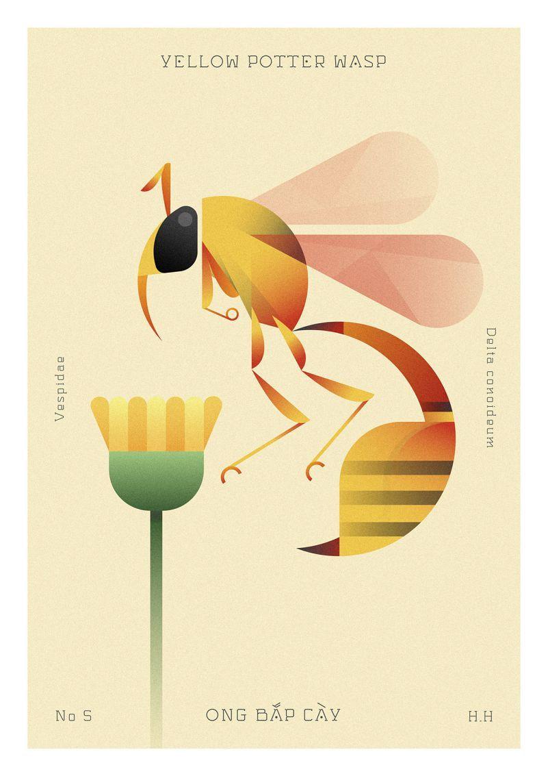 Des Insectes Géométriques Parcourent Une Flore Clairsemée avec Les Noms Des Insectes