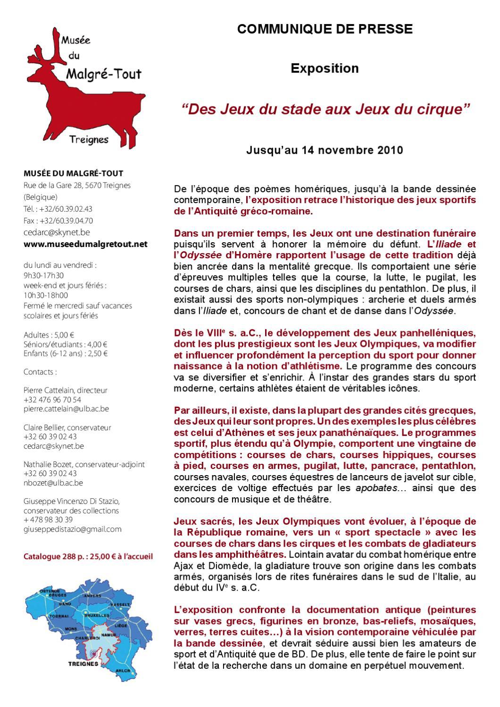 Des Jeux Du Stade Aux Jeux Du Cirque By Musée Du Malgré-Tout destiné Jeux Sportifs 6 12 Ans
