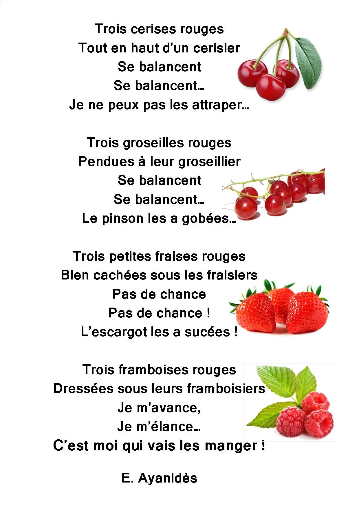 Des Poésies : Le Jardin, Des Fleurs Et Des Légumes - La intérieur Chanson Sur Les Fruits Et Légumes