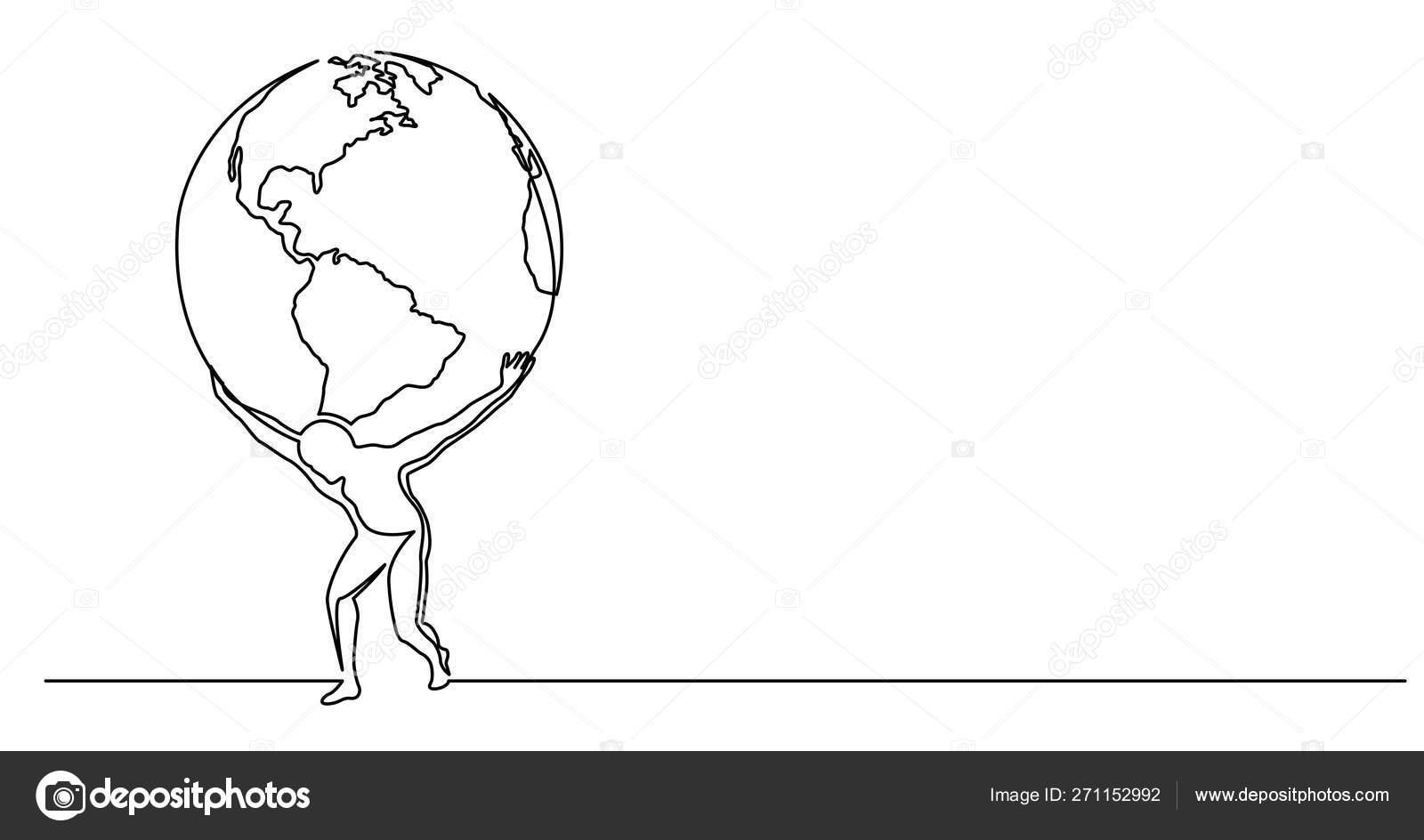 Dessin En Ligne Continue De L'homme Tenant Le Monde Sur Ses concernant Dessin Mappemonde