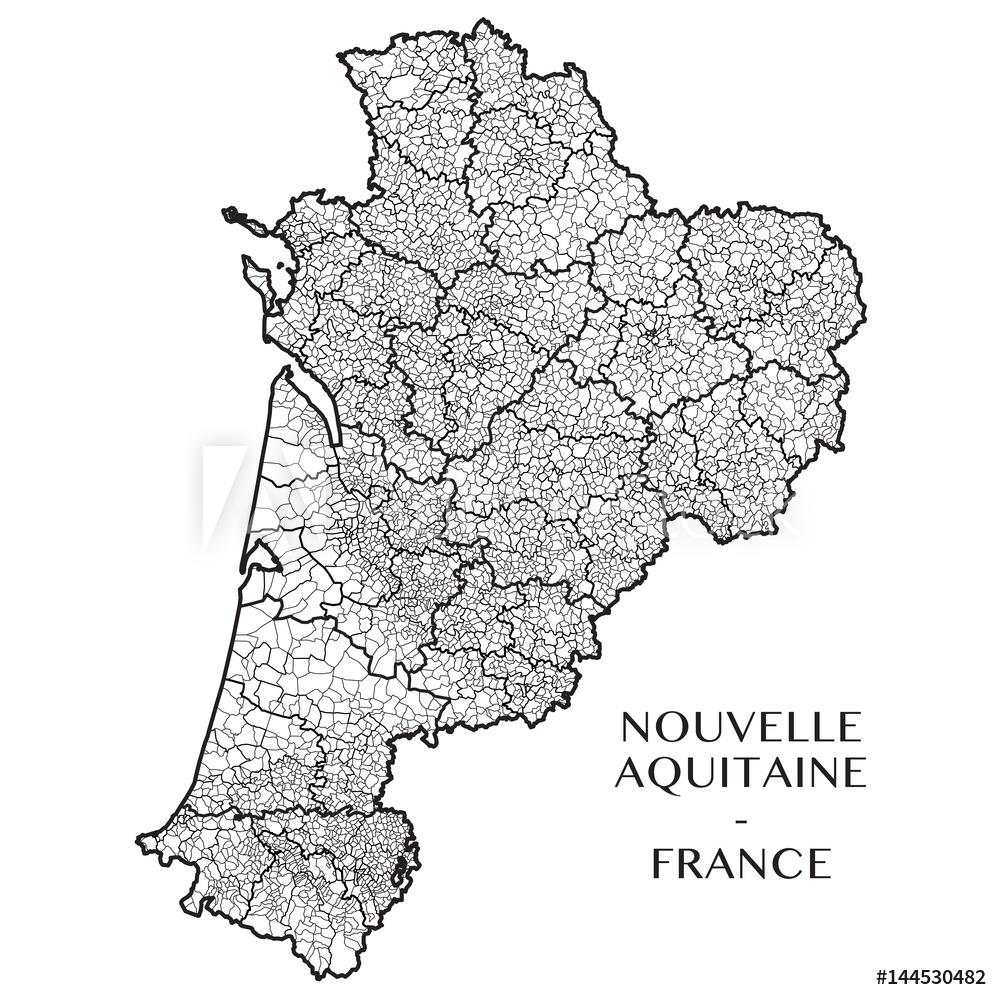 Detailed Map Of The Region Of Nouvelle Aquitaine, France serapportantà Nouvelle Region France