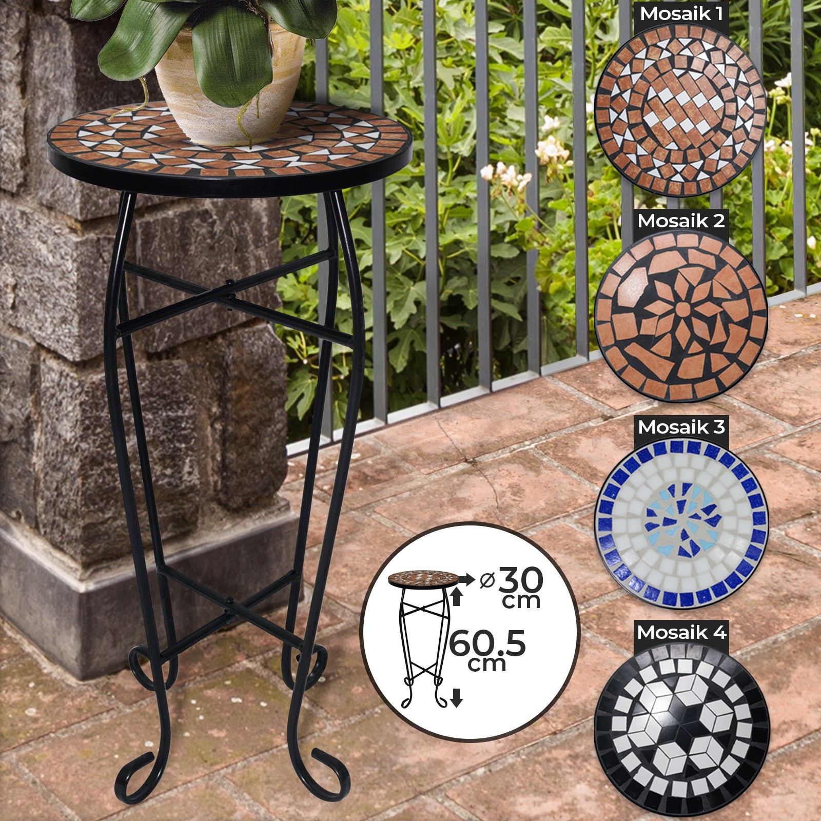 Détails Sur Table D'appoint En Mosaïque Tabouret Support Pour Plantes  Fleurs Jardin Balcon à Support Pour Mosaique
