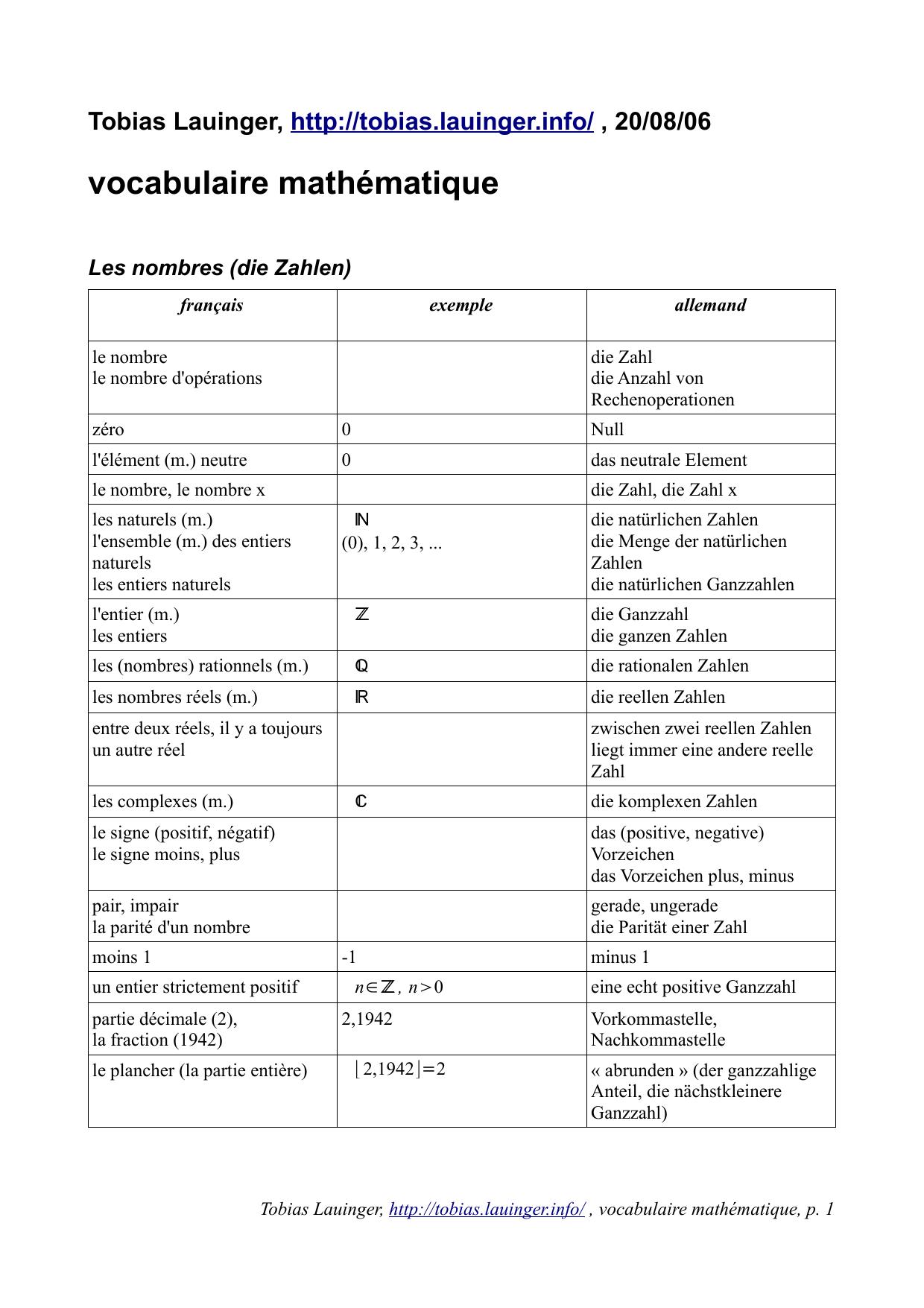 Dictionnaire Maths destiné Les Nombres De 0 À 20