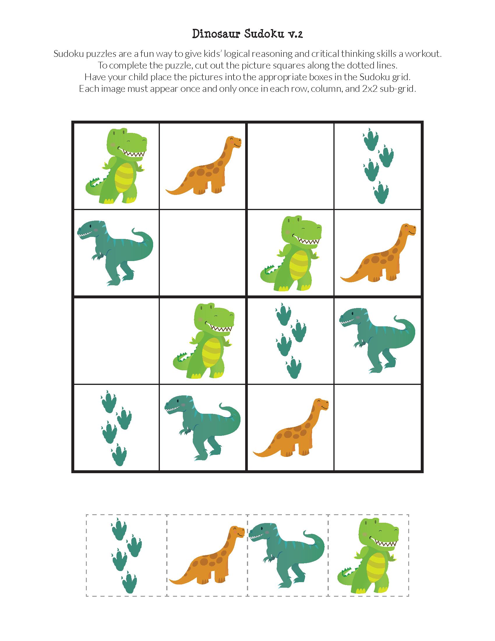 Dinosaur Sudoku Puzzles {Free Printables} | Evde Eğitim encequiconcerne Sudoku Grande Section