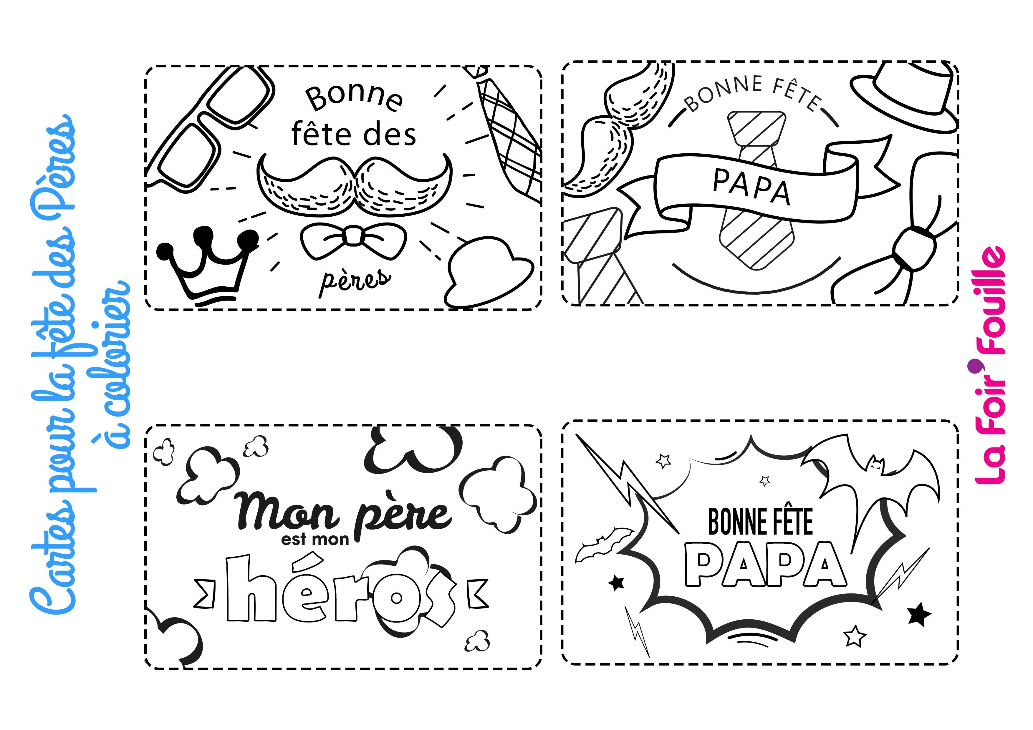Diy : 4 Cartes À Colorier Pour La Fête Des Pères | Blog La serapportantà Coloriage Fete Des Peres
