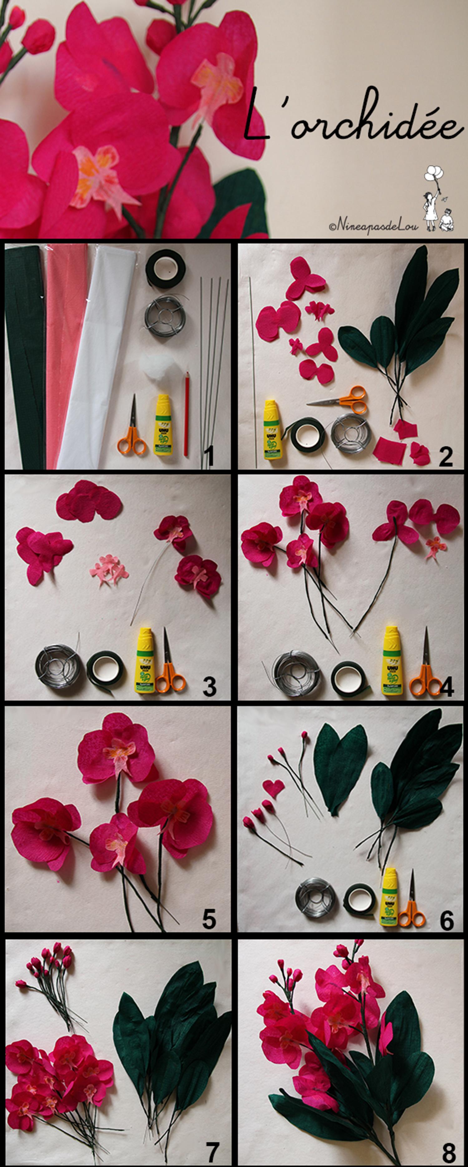 Diy Réalisation D'orchidées En Papier Crépon De Couleur Rose avec Realisation Papier Crepon