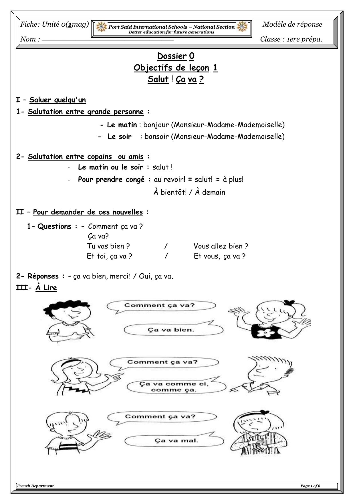 Dossier 0 Objectifs De Leçon 1 Salut ! Ça Va ? I – Saluer avec Bonjour Monsieur Comment Ca Va