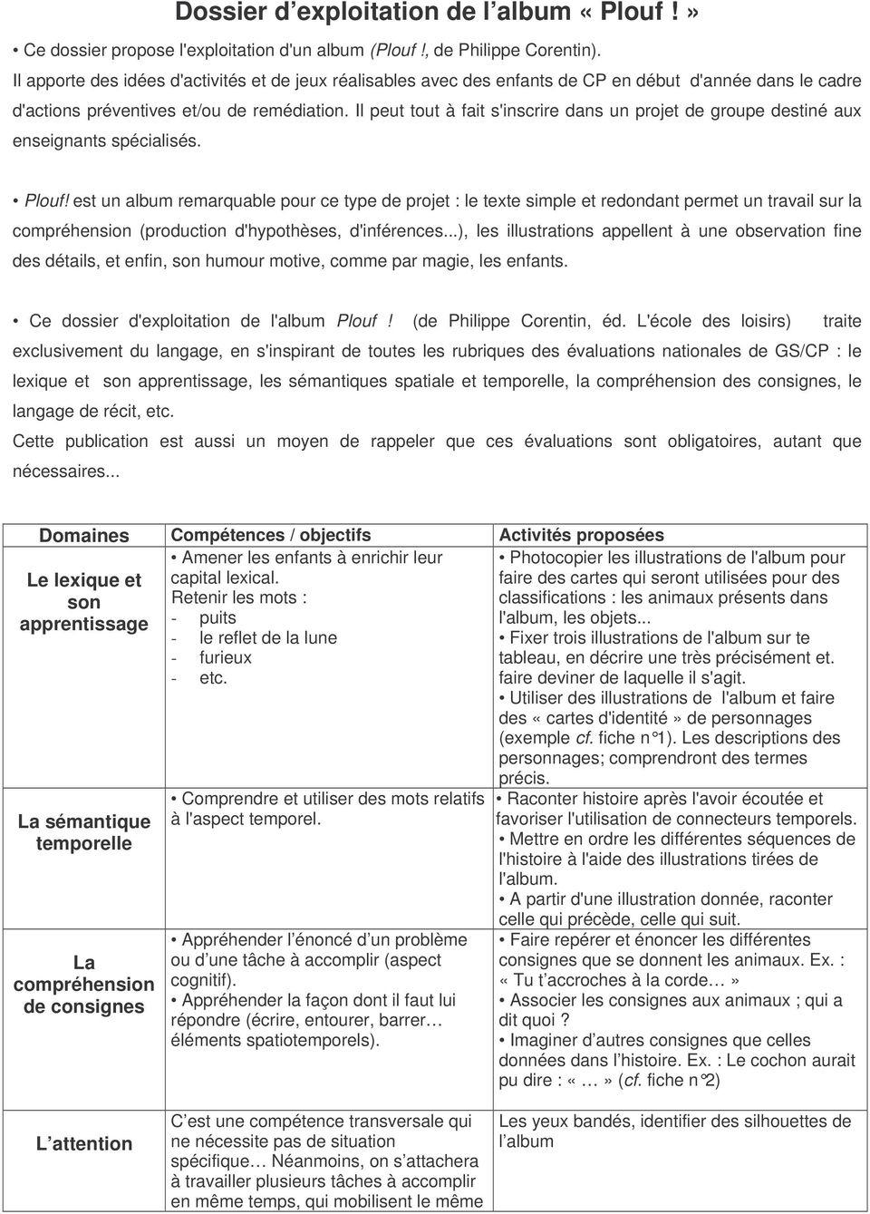 Dossier D Exploitation De L Album «Plouf!» - Pdf serapportantà Album Plouf
