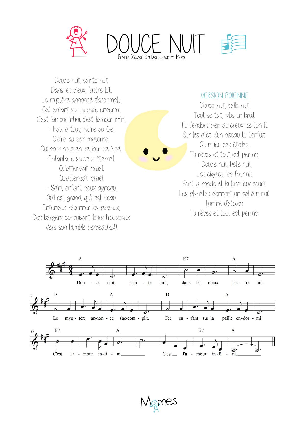 Douce Nuit : Paroles, Musique Et Partition - Momes serapportantà Chanson A Imprimer