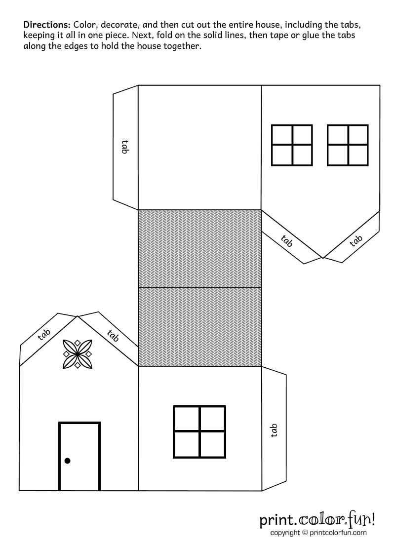 Download And Print Your Page Here!-For 3 Pigs Houses pour Patron De Maison En Papier A Imprimer