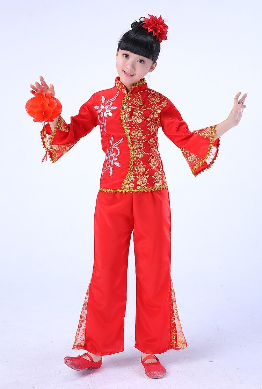 €20.92 |Danse Folklorique Chinoise Enfants Costume Pailleté Compétition  Yangko Danse Spectacle Danse Robe Rouge Ouvreur Genv Semis|Sequin à Spectacle Danse Chinoise