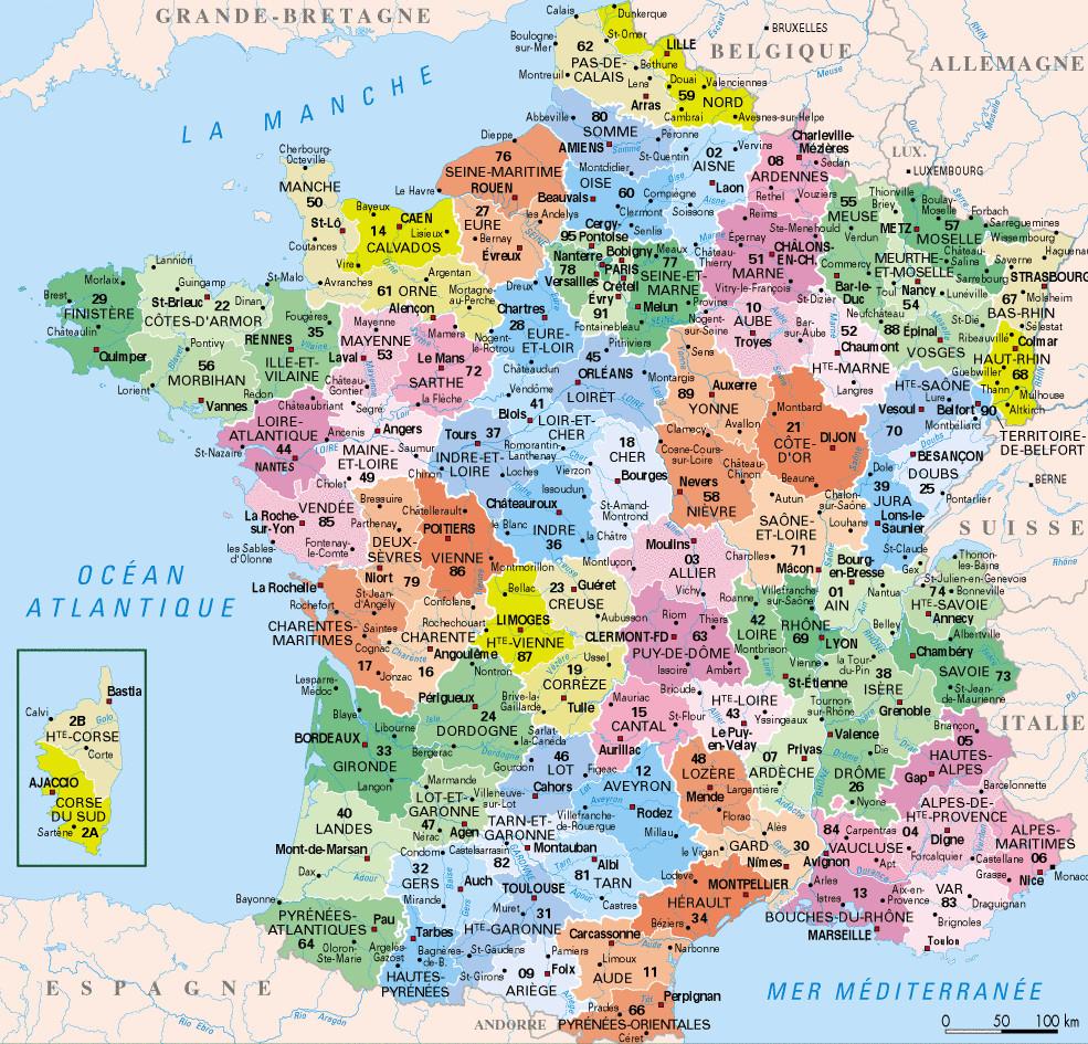 ⇒ Liste Des Départements Français : √ Rmations tout Imprimer Une Carte De France