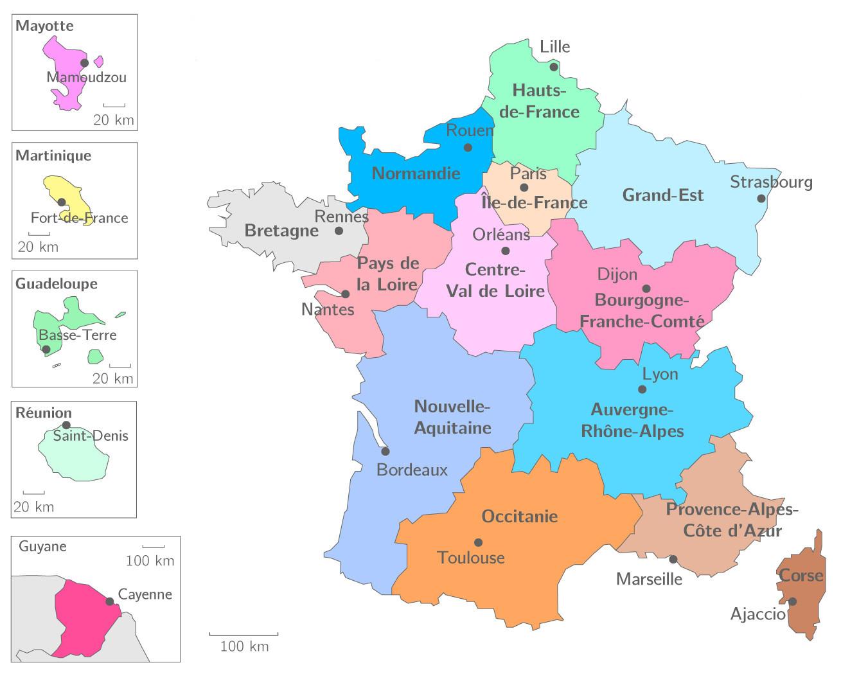 ⇒ Liste Des Régions Françaises : √ Rmations tout Nouvelle Carte Des Régions De France