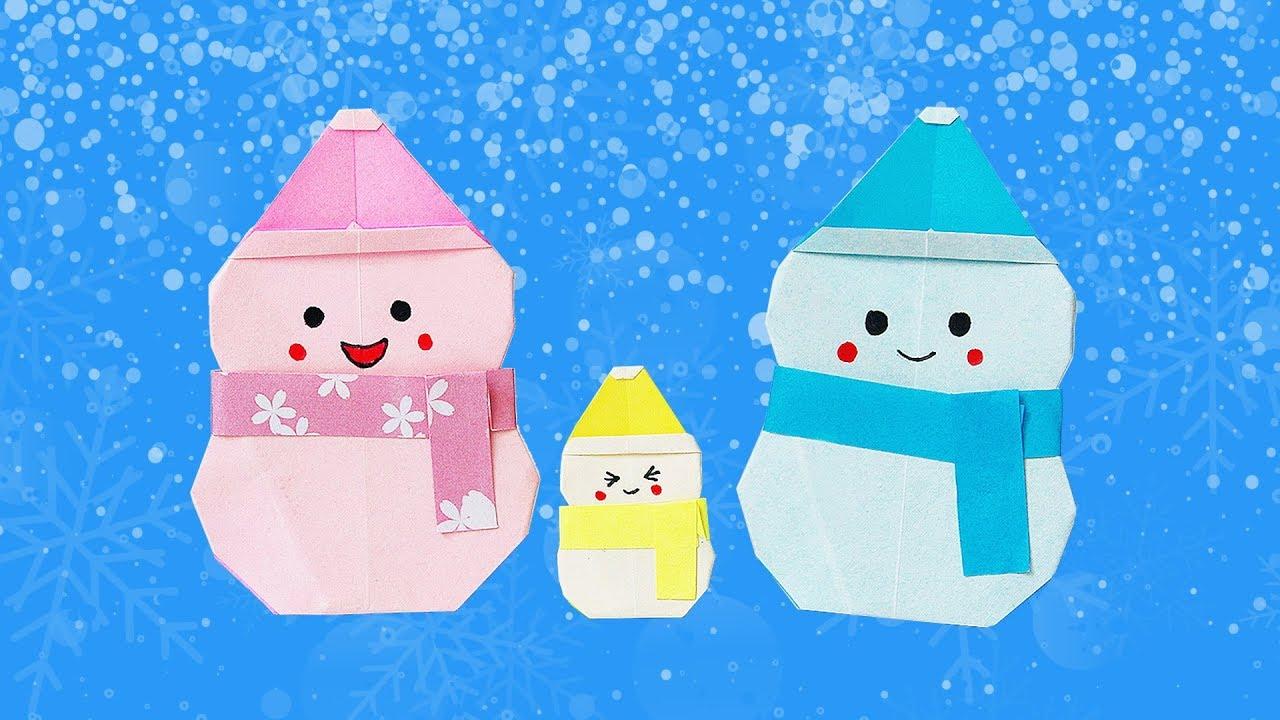 ⛄️ Origami Snowman ⛄️ - Snowman • Người Tuyết • Bonhomme De Neige (Ako) dedans Origami Bonhomme De Neige