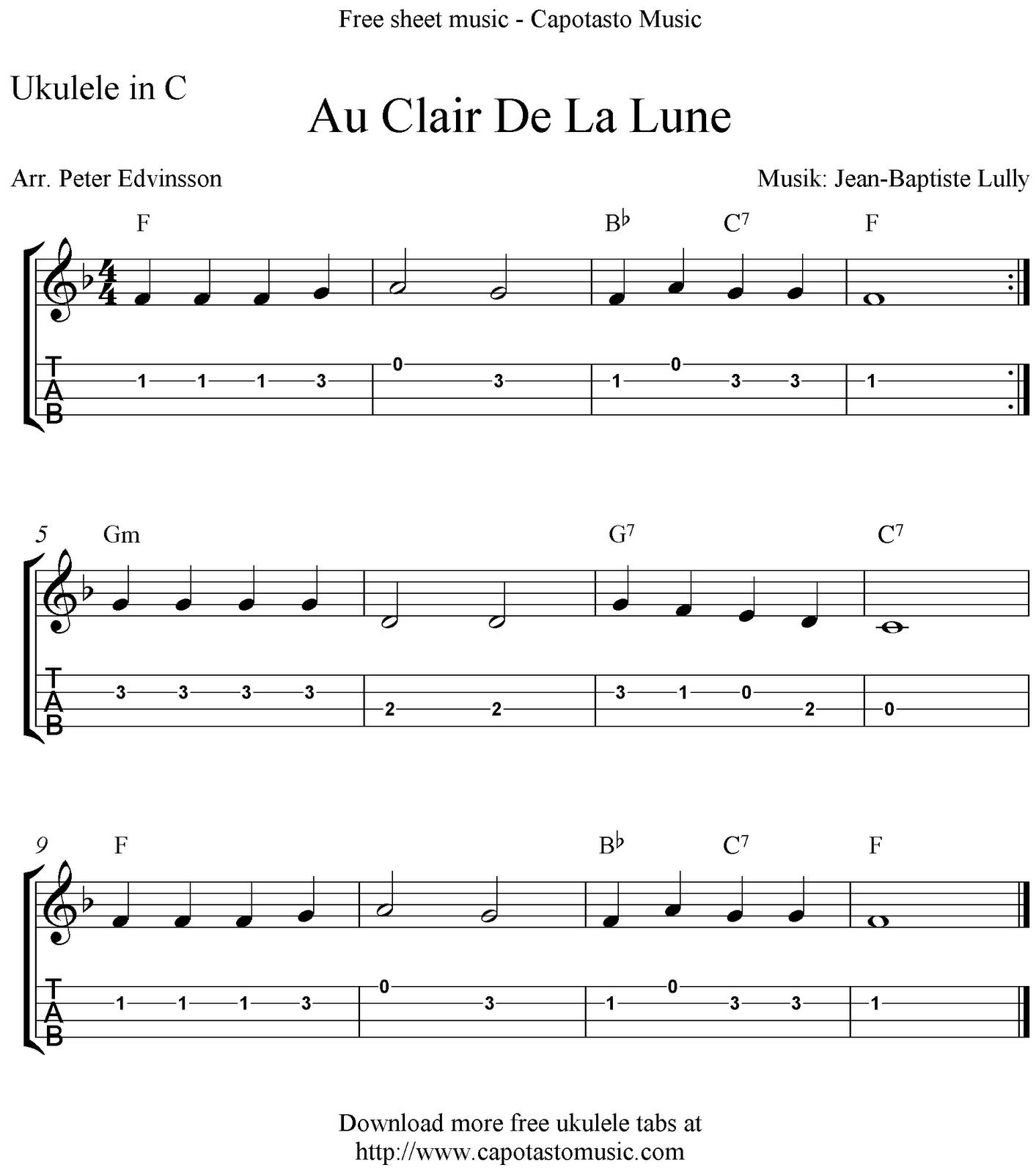 """✓""""au Clair De La Lune"""" Ukulele Sheet Music - Free Printable avec Clair De La Lune Lyrics"""