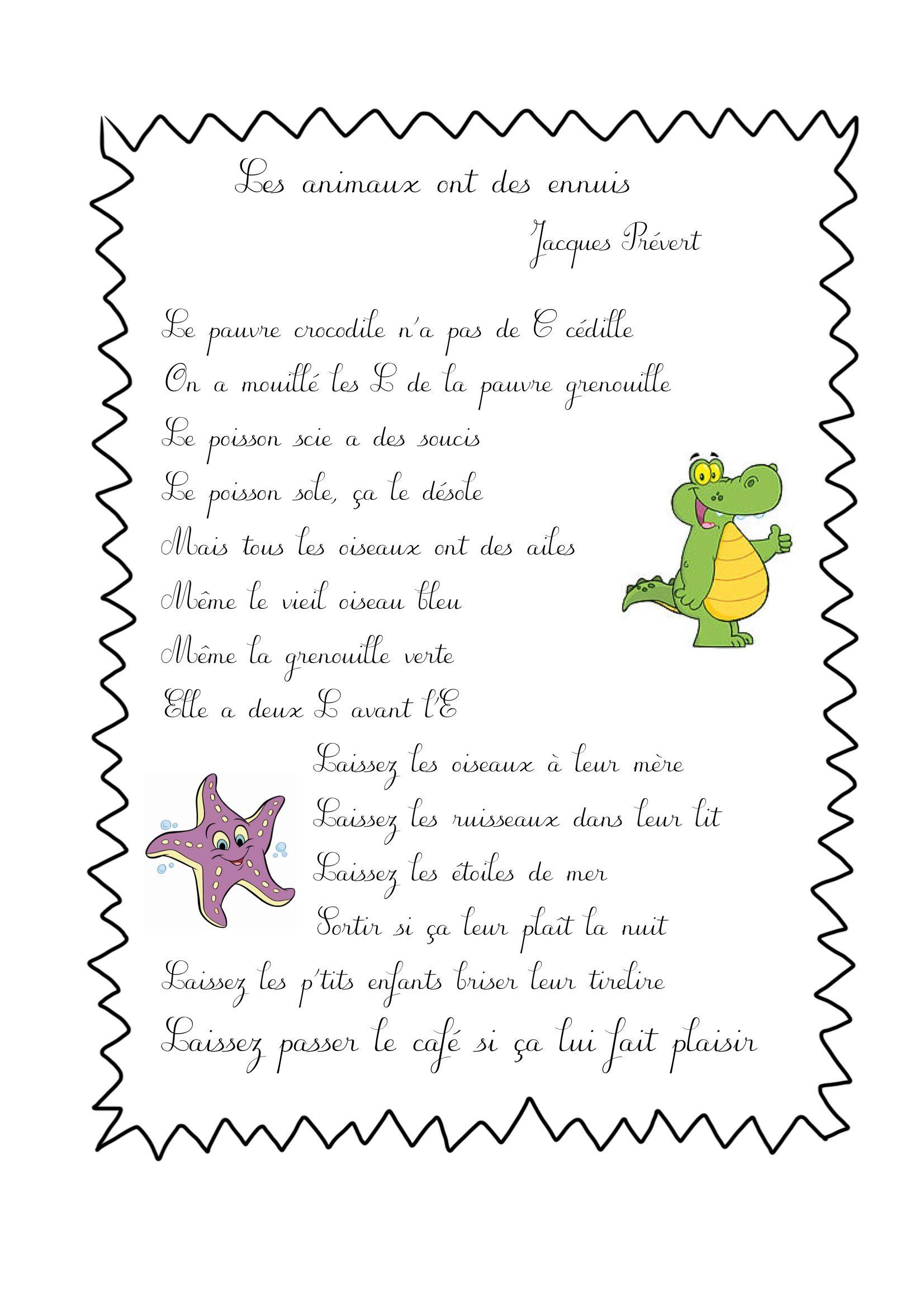 ✿✿✿ Poésies 1 ✿✿✿ | Prevert Jacques, Comptines Et encequiconcerne Poeme De Jacque Prevert