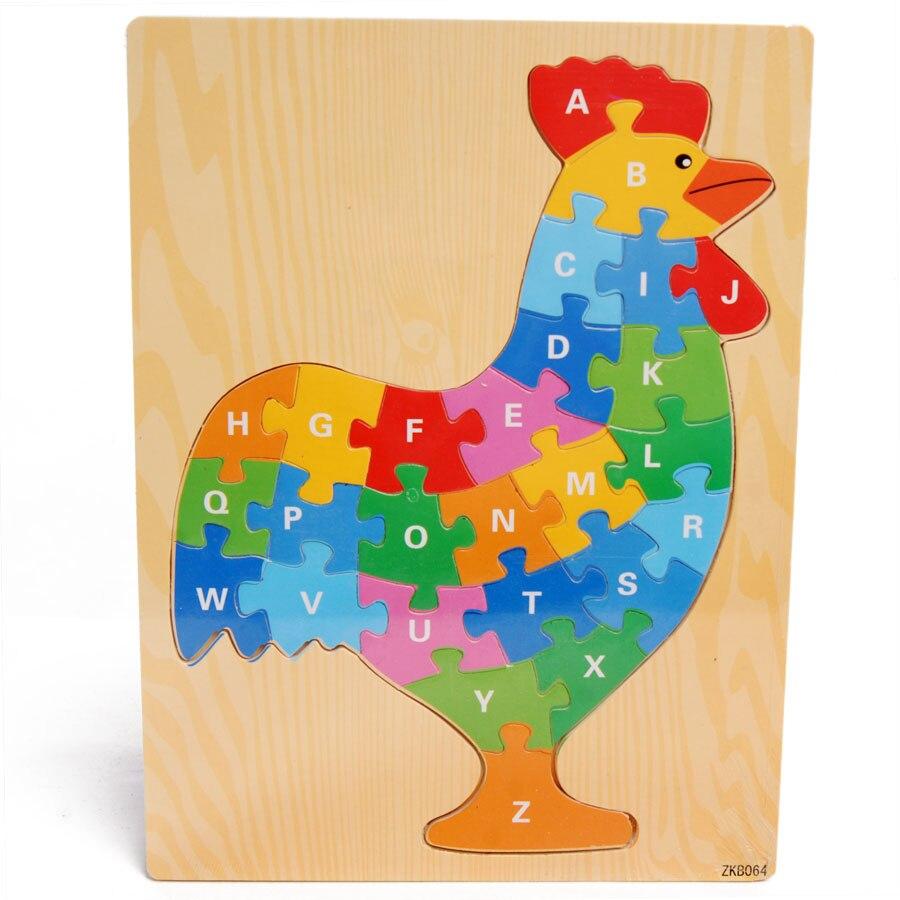 €7.71 50% De Réduction|Livraison Gratuite En Bois Lettre Coq Puzzle Jouet,  Enfants Éducation Précoce Animal Puzzle, Enfants Montessori Enseignement concernant Puzzle Gratuit Enfant