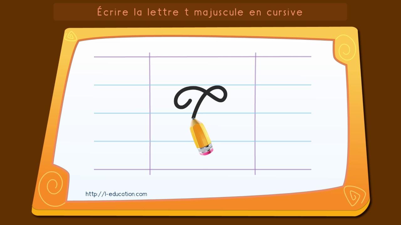 Écrire L'alphabet: Apprendre À Écrire La Lettre T Majuscule En Cursive encequiconcerne T Majuscule En Cursive