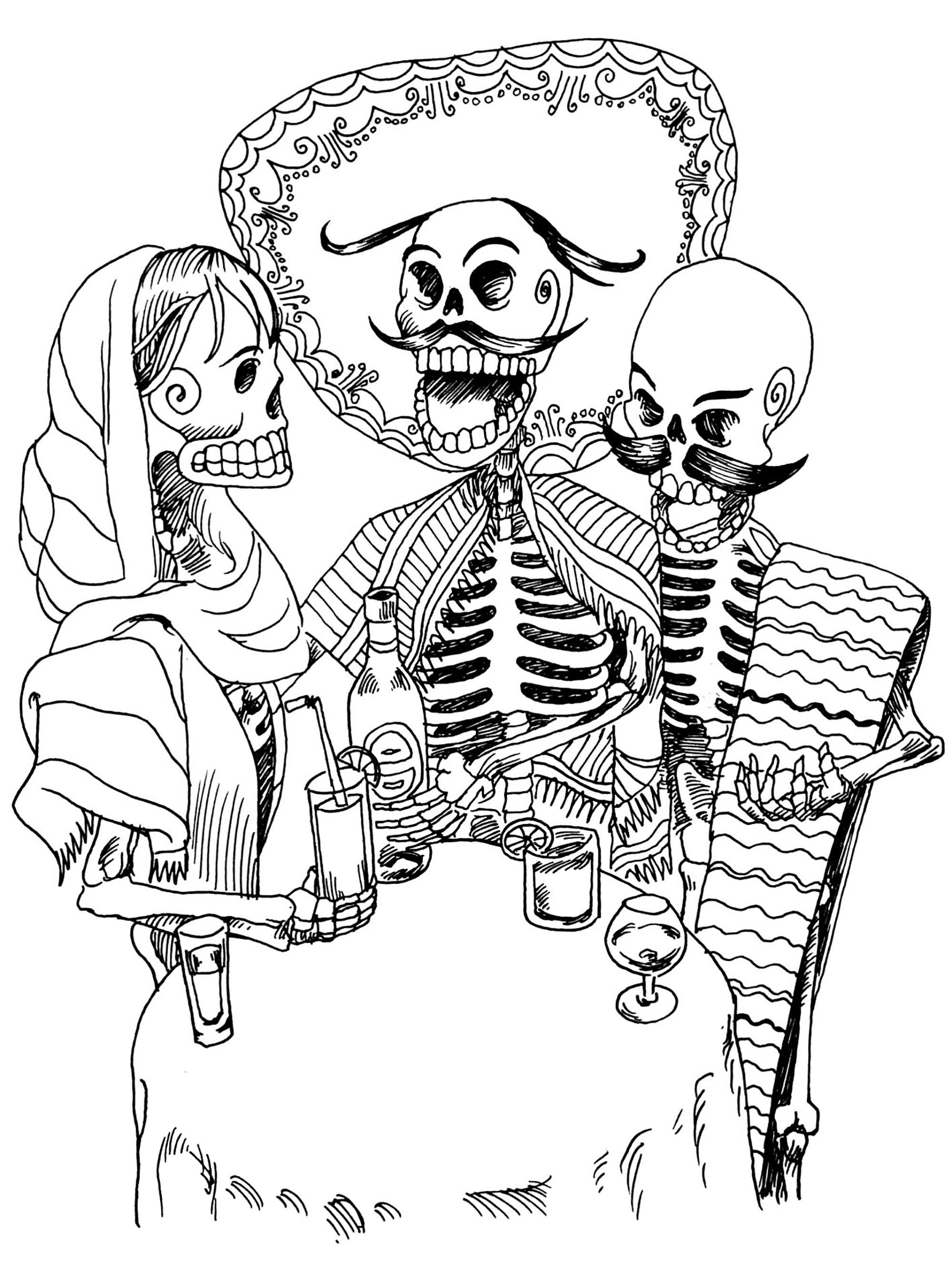 El Dia De Los Muertos 61405 - El Día De Los Muertos encequiconcerne Squelette A Imprimer