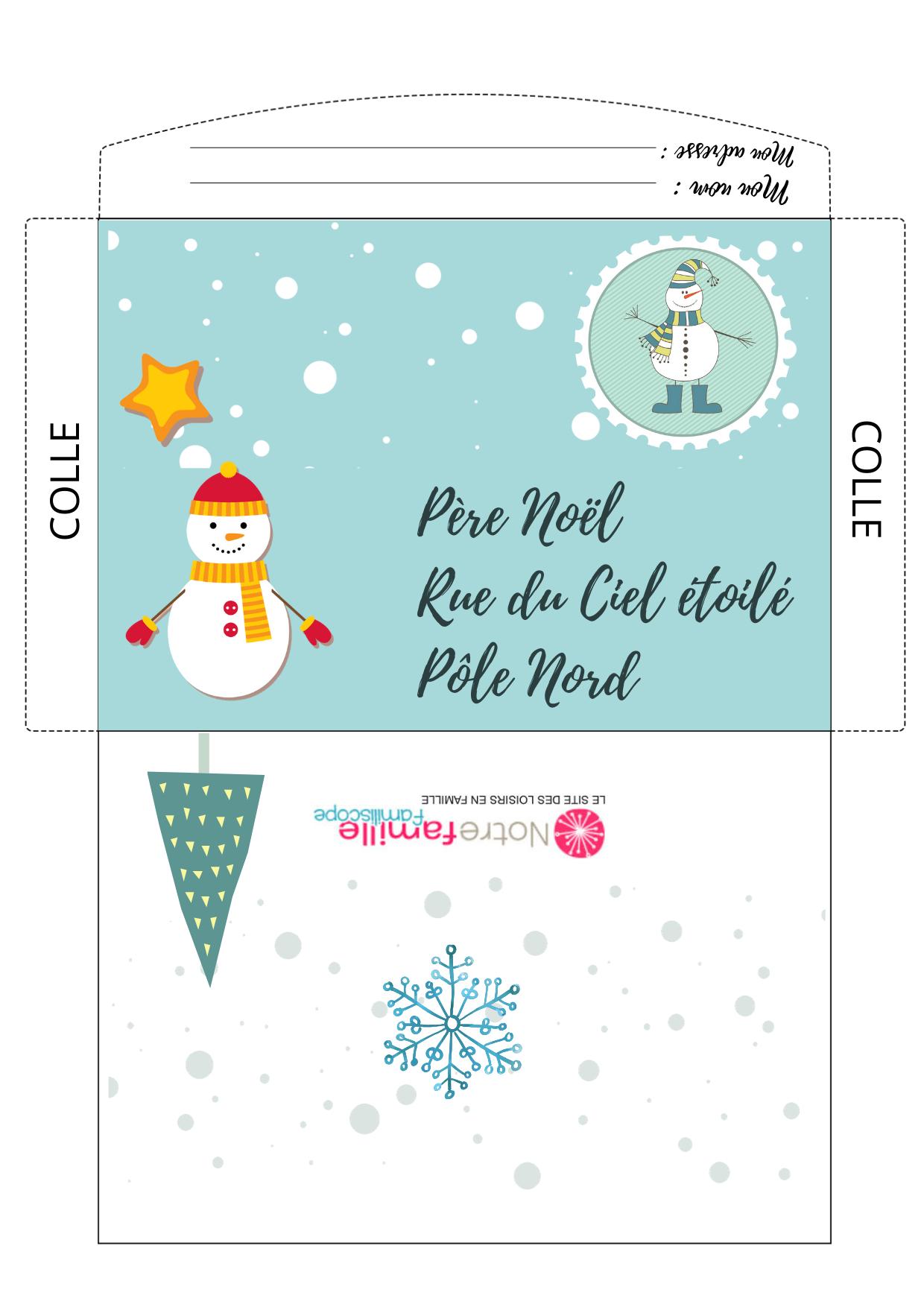 Enveloppe À Imprimer Pour Écrire Au Père Noël - Thème Neige intérieur Reponse Lettre Du Pere Noel A Imprimer