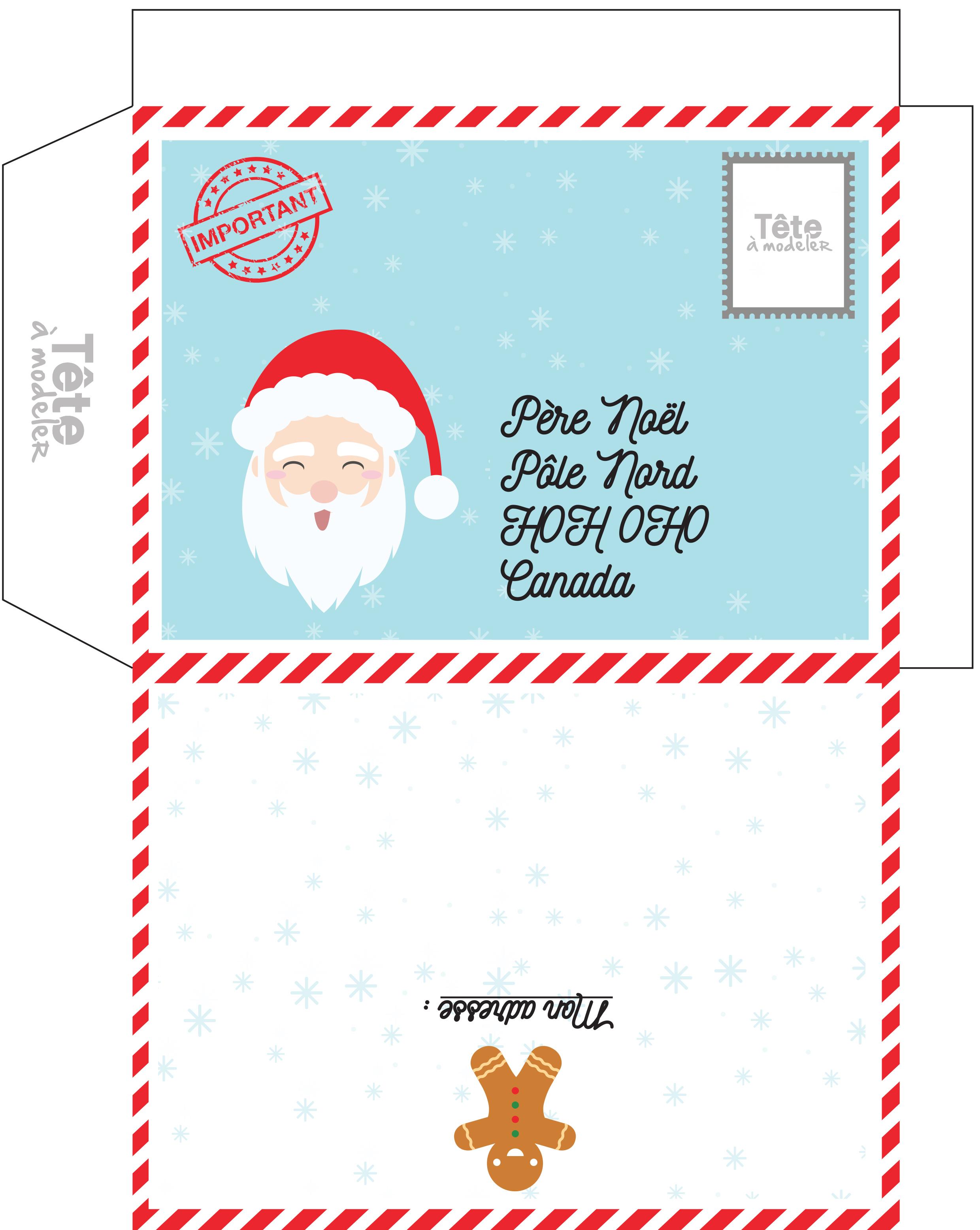 Enveloppe De Noël À Imprimer Pour Le Canada destiné Liste Pere Noel Imprimer