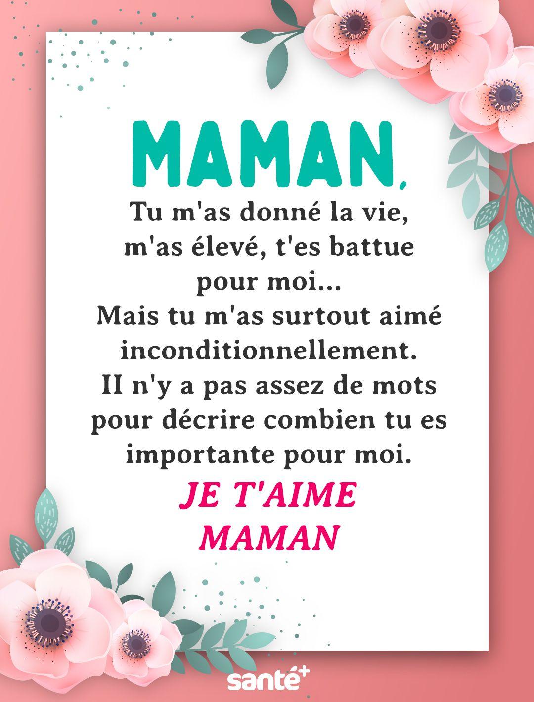 Épinglé Par Dounia Krarroubi Sur Maman Citation | Poeme serapportantà Texte Maman Je T Aime