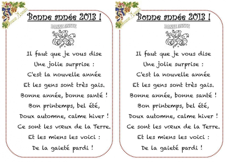 Épinglé Sur Comptines D'enfants concernant Poeme Voeux Nouvel An