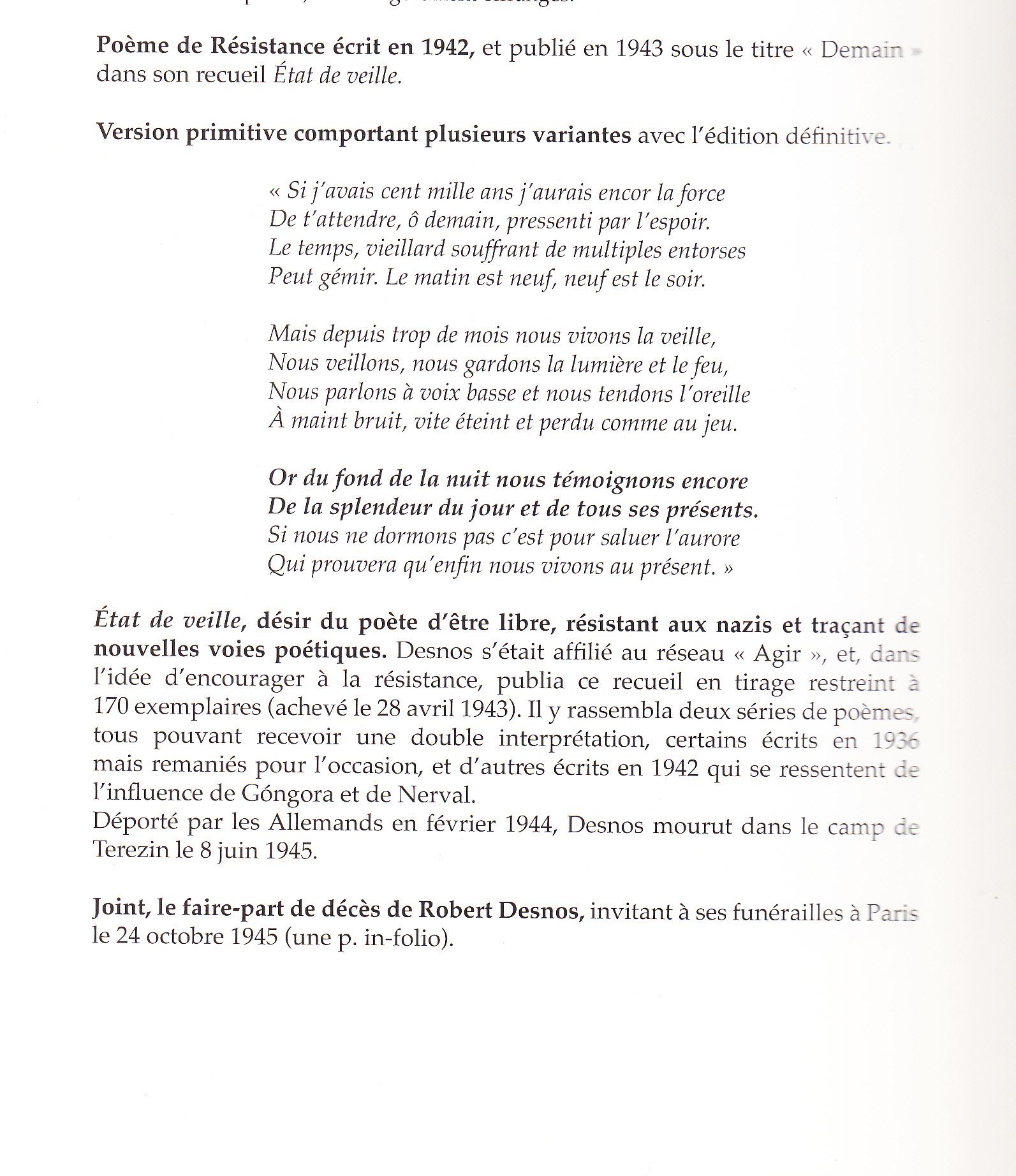 Etat De Veille Poème De Robert Desnos – Déporté – Camp De serapportantà Poème De Robert Desnos