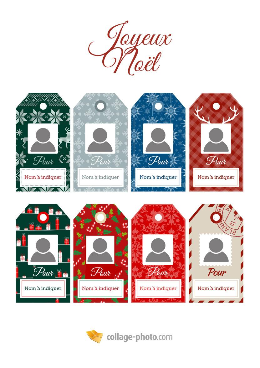 Étiquette Cadeau De Noël - Collage-Photo concernant Etiquette Noel A Imprimer