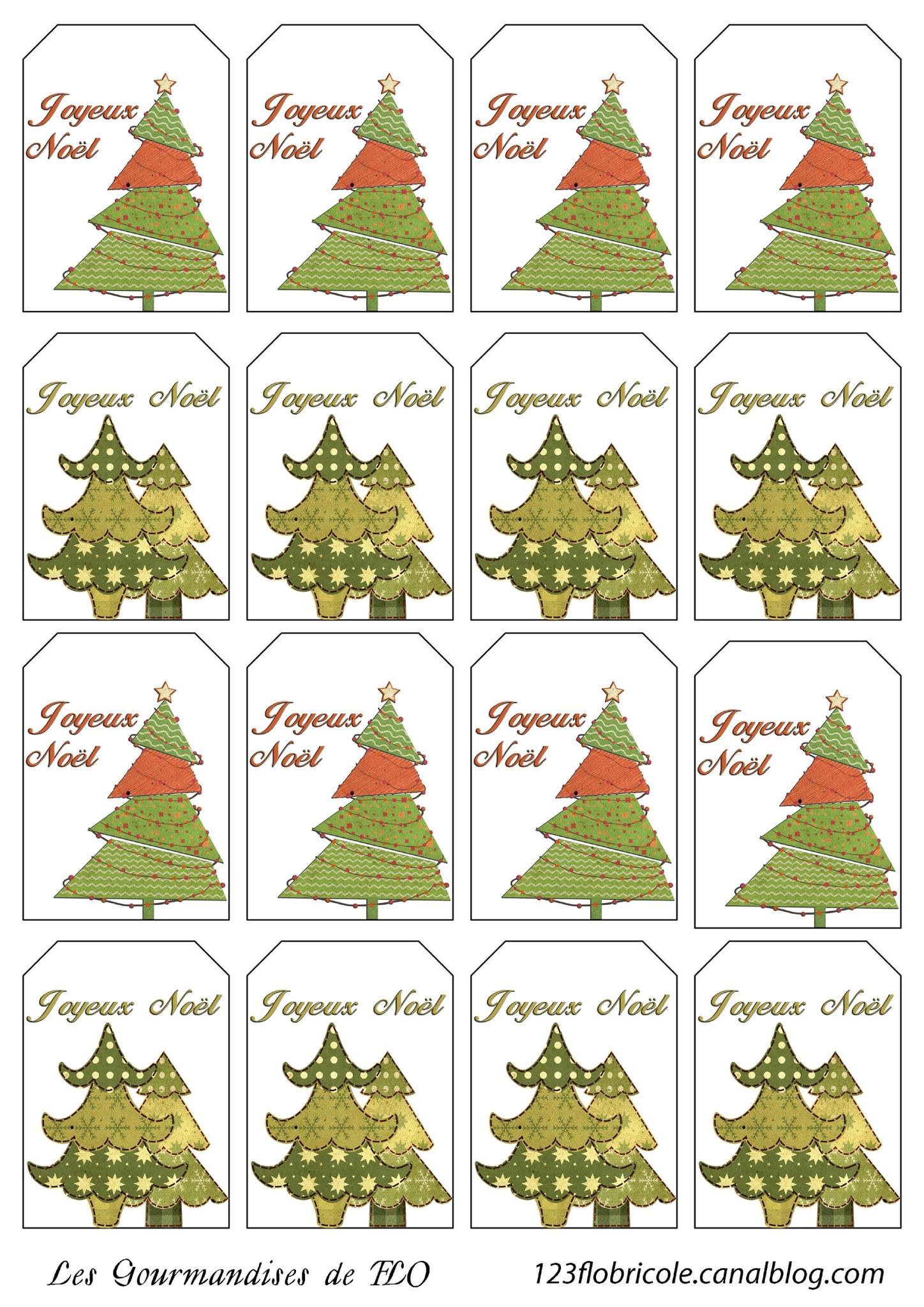 Etiquettes Cadeaux À Imprimer : Sapins De Noël - 1 2 3 Flo tout Etiquette Noel A Imprimer