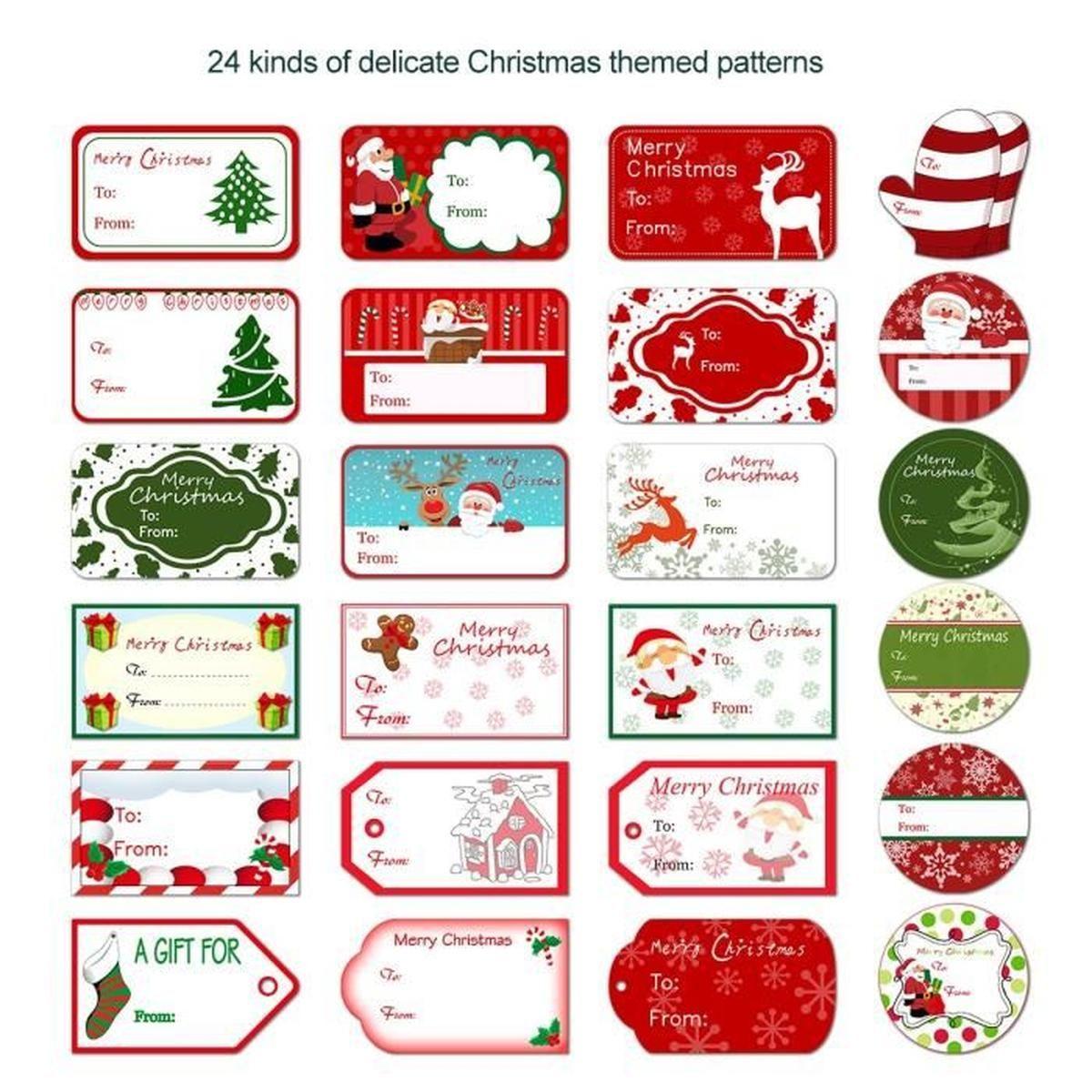 Etiquettes De Noel Marque Cadeau De Fête Autocollant Lot De destiné Etiquette Noel A Imprimer