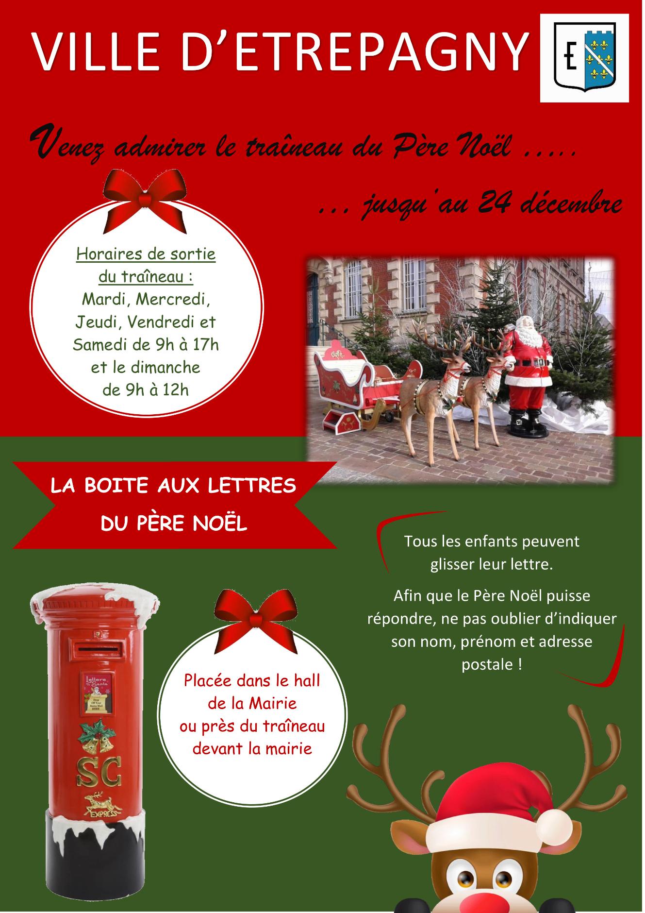 Étrépagny - Traîneau Du Père Noël Et Sa Boite Aux Lettres avec Reponse Lettre Du Pere Noel A Imprimer