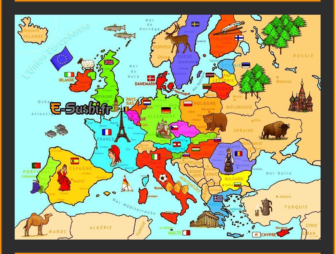 Europe – Carte Avec Symboles Des Pays   Carte Europe dedans Carte Europe Avec Capitales