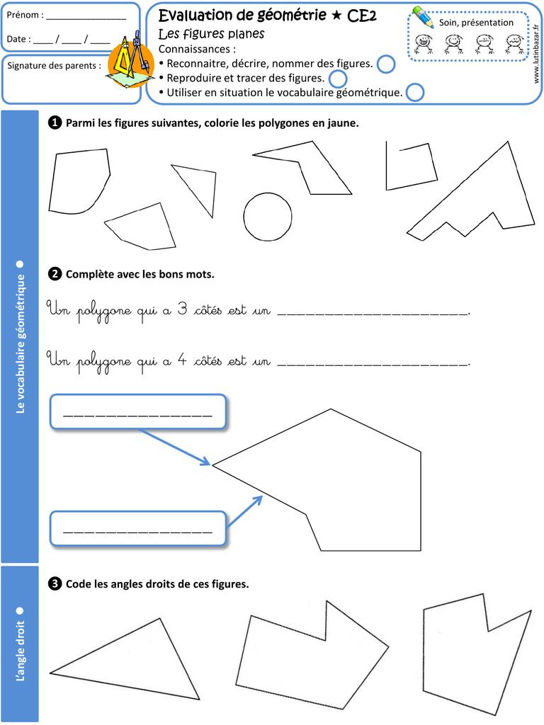 Evaluation Ce2 destiné Figures Géométriques Ce1