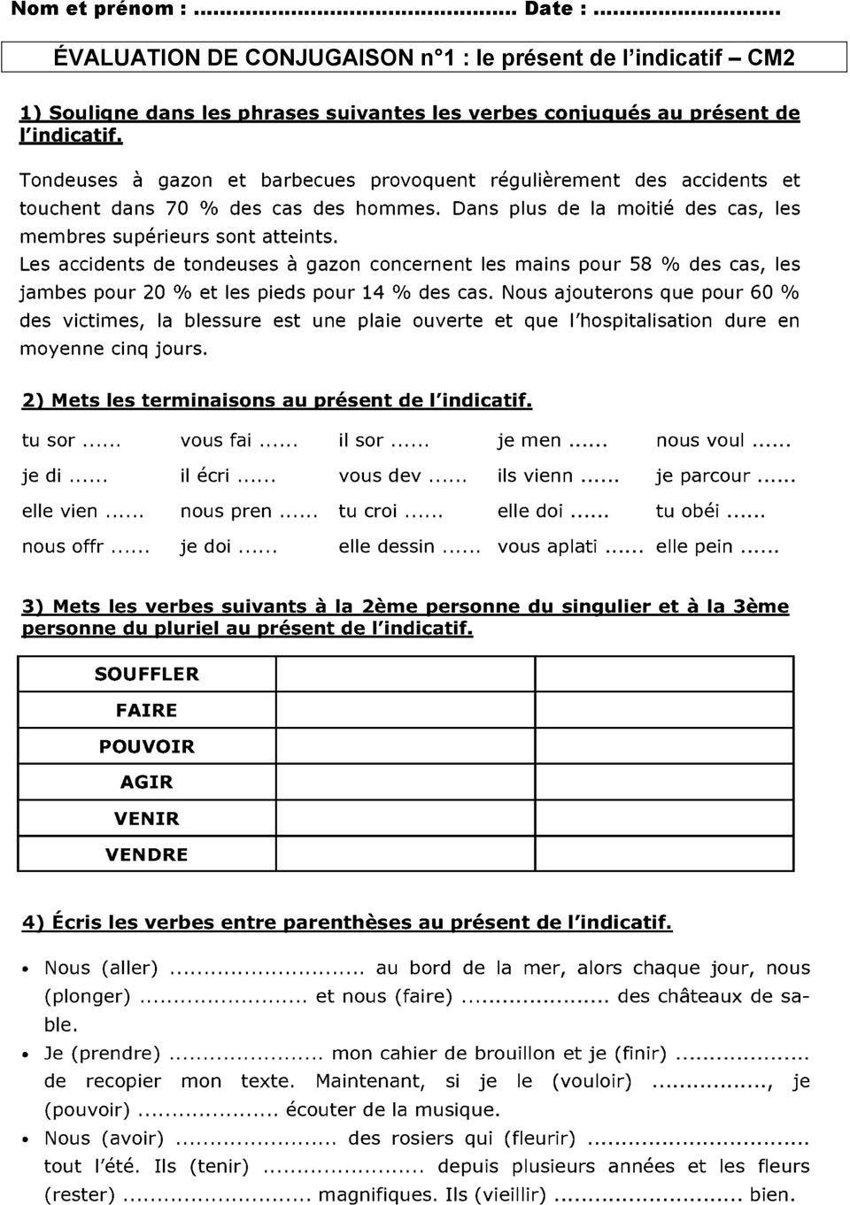 Évaluation De Conjugaison N 1 : Le Présent De L Indicatif à Dormir Au Présent De L Indicatif