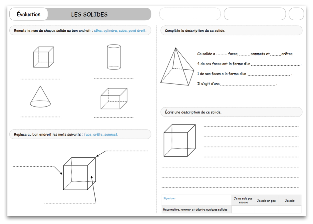 Évaluation – Les Solides – Le Blog Du Cancre concernant Figures Géométriques Ce1