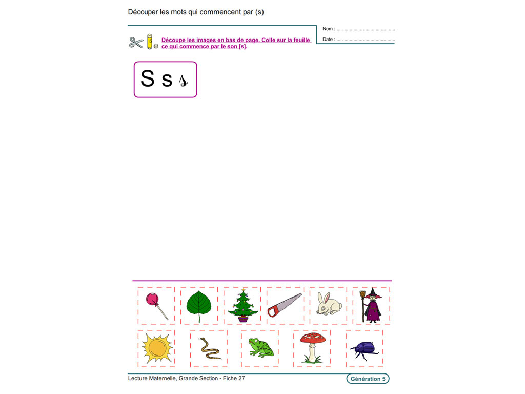 Evolu Fiches - Lecture En Maternelle Grande Section concernant Fiche D Exercice Grande Section A Imprimer