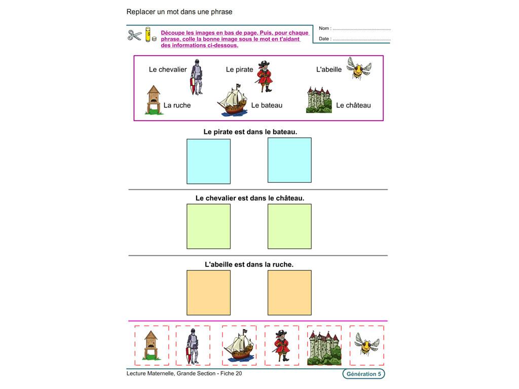 Evolu Fiches - Lecture En Maternelle Grande Section tout Fiche D Exercice Grande Section A Imprimer