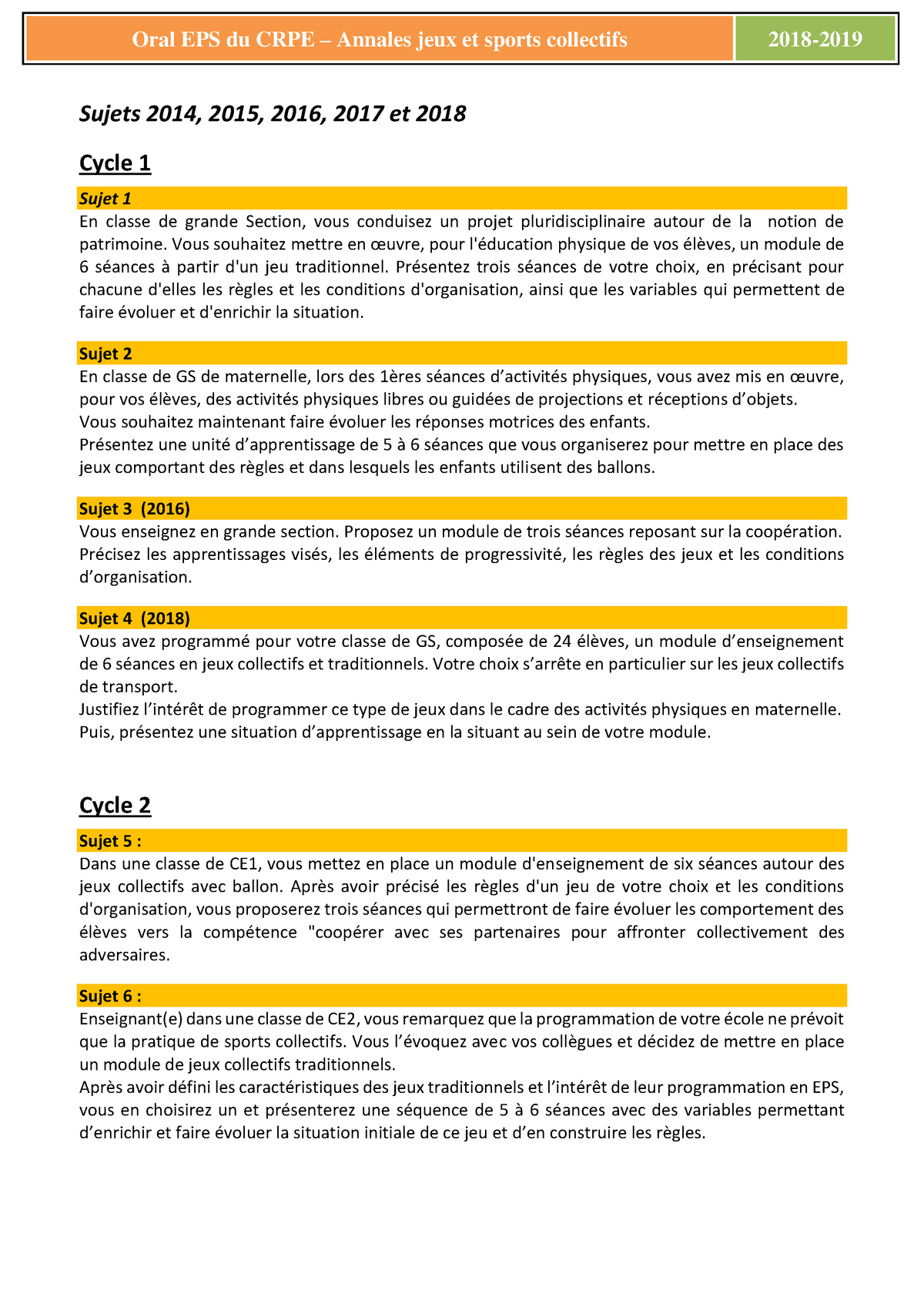 Examen 2019, Questions - Eps M1 Meef - Upjv - Studocu à Jeux Collectifs Cycle 3 Sans Ballon