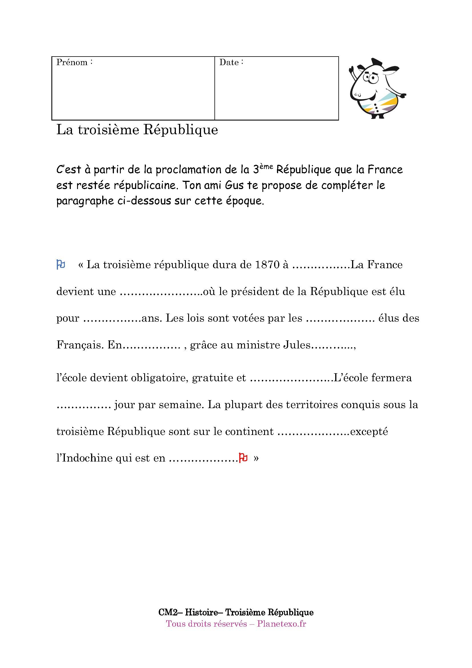 Exercice Corrigé Pour Le Cm2 : La Troisième République dedans Exercice Cm2 Gratuit