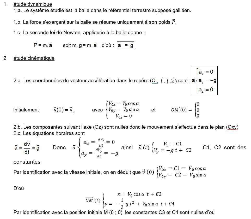 Exercice Corrigé Sur Les Équations Horaires Et Équations De à Exercice Cm2 Gratuit