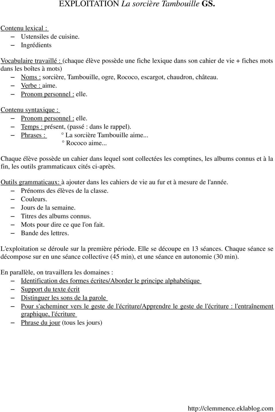 Exploitation La Sorcière Tambouille Gs. - Pdf Free Download à La Sorciere Tambouille