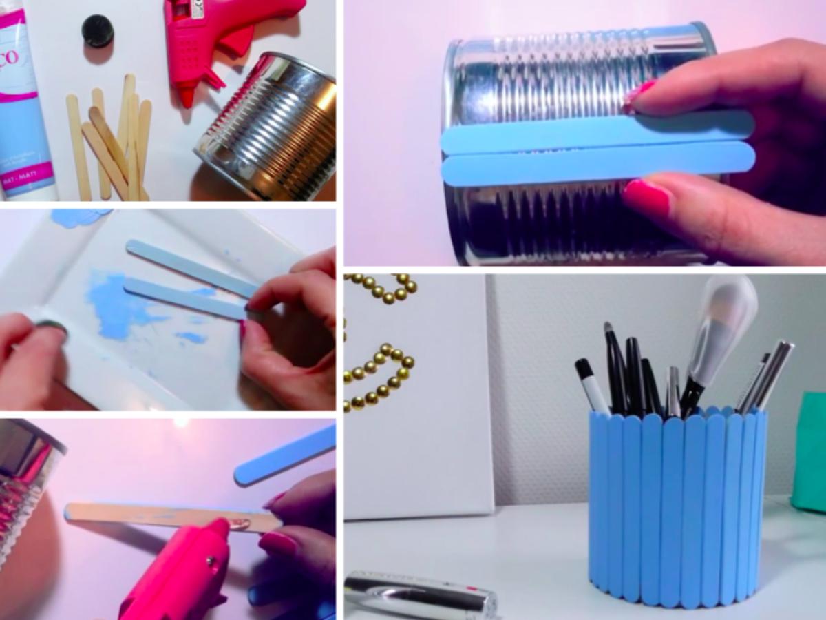 Fabriquer Un Pot À Crayon Avec Une Boite De Conserve Et Des serapportantà Bricolage Avec Baton De Bois