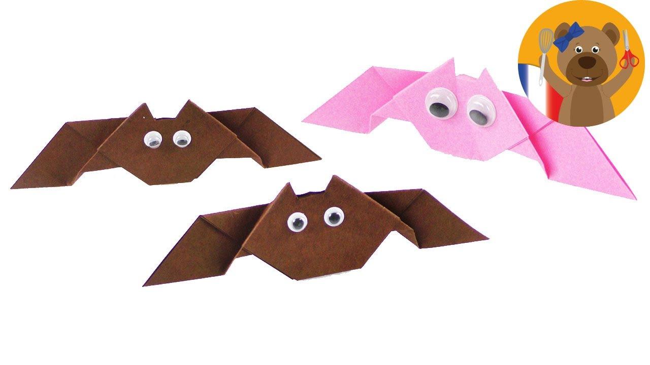 Fabriquer Une Chauve-Souris   Idée De Déco Pour Halloween   Pliage 3D concernant Origami Chauve Souris