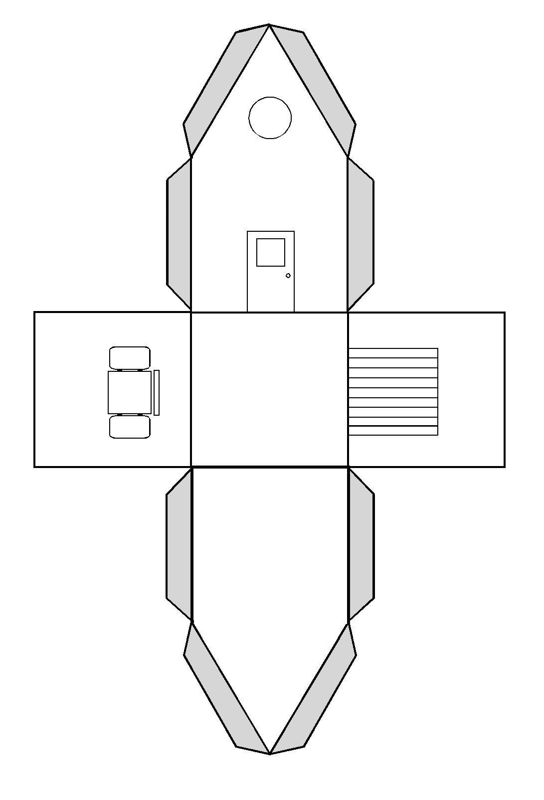 Faire Une Maison En Volume Par Pliage Et Collage (Avec à Patron De Maison En Papier A Imprimer