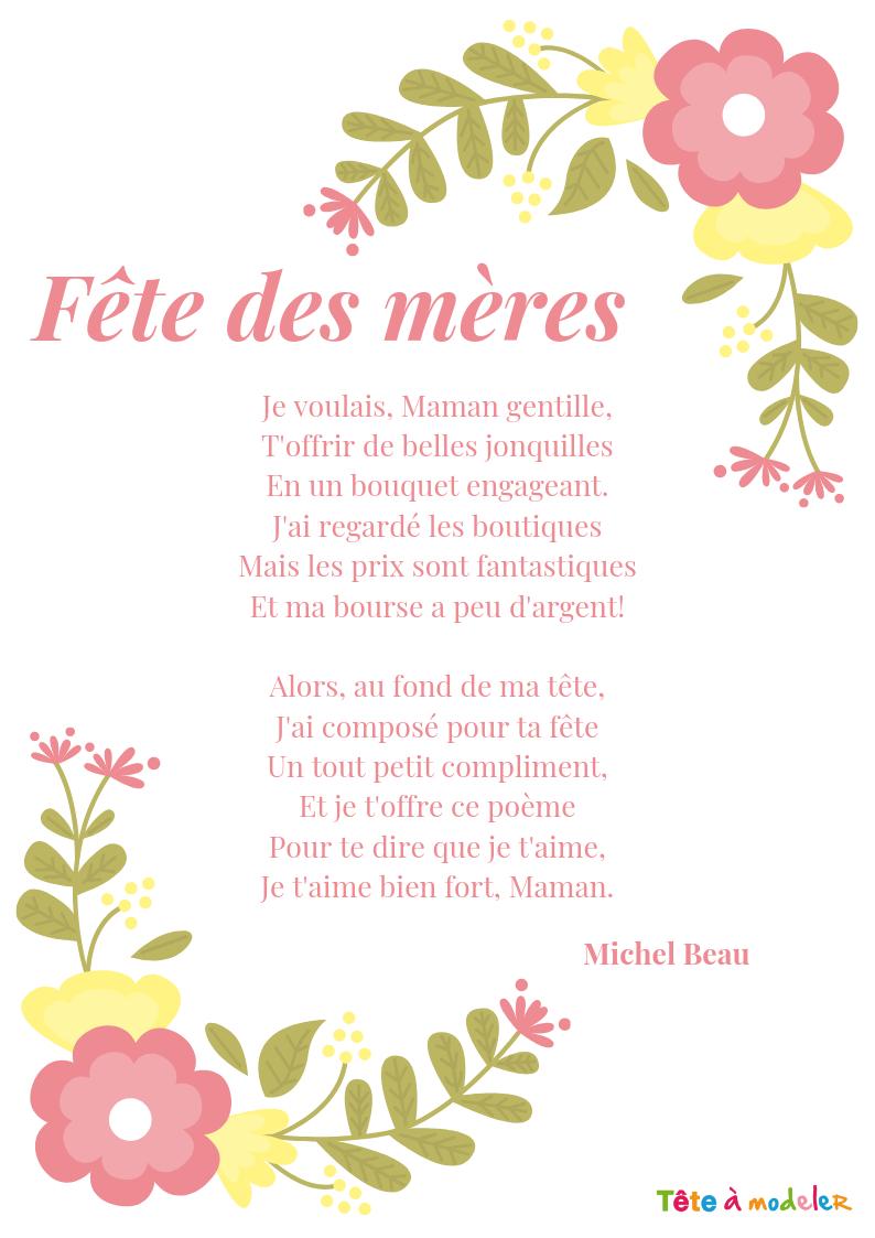 Fête Des Mères – Un Poème Pour Maman Avec Tête À Modeler à Texte Maman Je T Aime