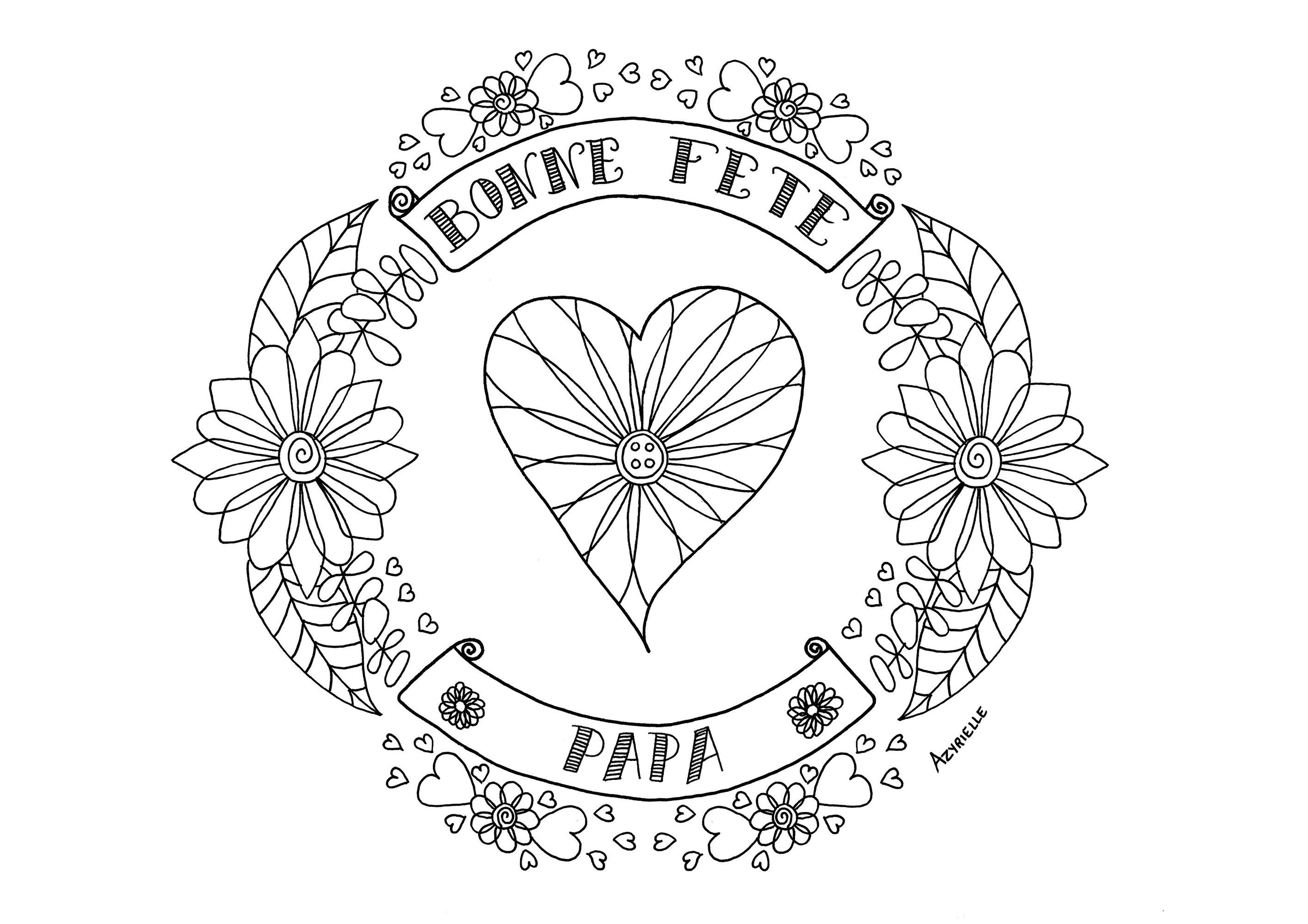 Fete Des Peres Coeur - Fête Des Pères - Coloriages destiné Coloriage Fete Des Peres
